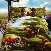 ARNIGU Westlichen stil landschaft gedruckt Baum Blume Bettwäsche 3D Bettwäsche set Queen size 100% Baumwolle Quilt bettbezug bettwäsche