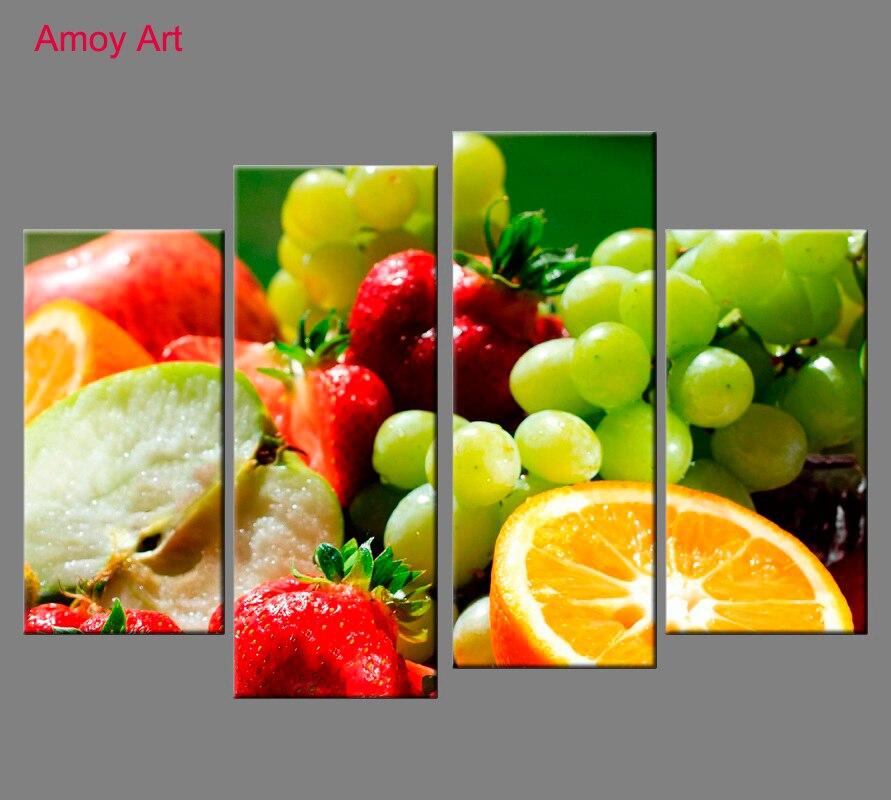 unidades lenmon frutas arte de la pared para la cocina decoracin impresin de la lona