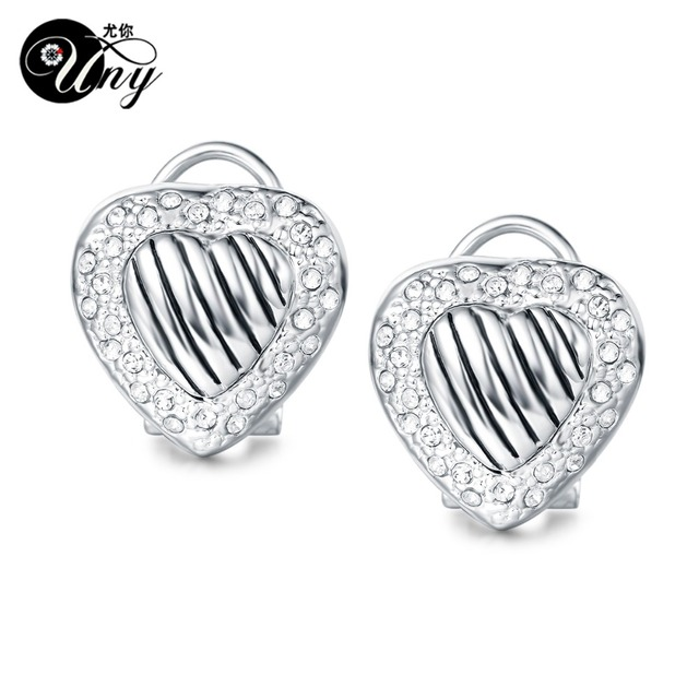 Uny Earring Luxury Brand French Clip Earrings Designer Inspired David Gilded Alloy Heart Fashion Free
