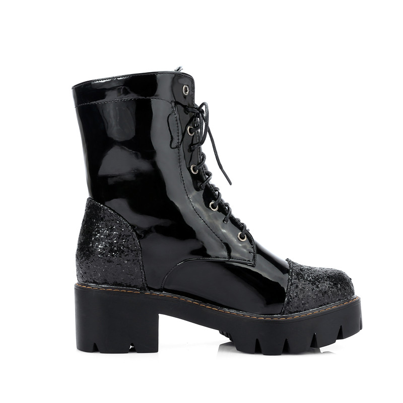 Moto Femme Dame Chaussures Bottines Ymechic Plate rose Femmes Argent Bottes Pour Noir Noir Grande forme Talons De Taille Épais Lacets argent Femelle Des À Rose wmnOv0N8