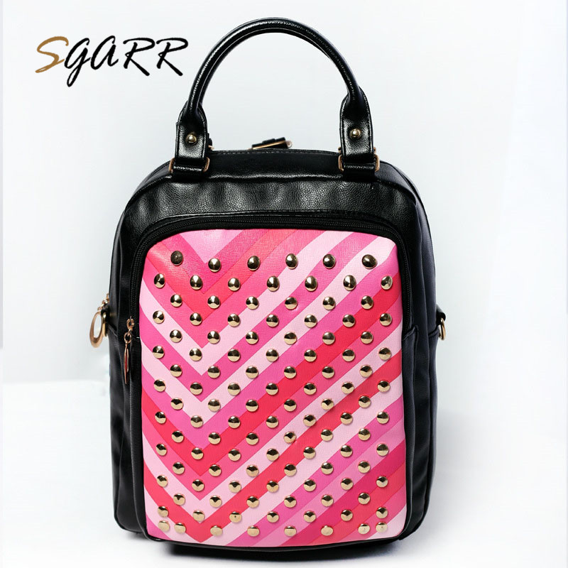 SGARR BRAND Women Leather Backpacks Small Rivet Colorful Female Adult Teenager Girls School Bag Cheap Quality