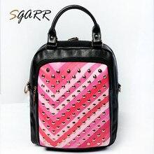 Sgarr Брендовые женские кожаные рюкзаки небольшой заклепки Красочные женский для взрослых девочек-подростков школьная сумка дешевые качество путешествия Bagpacks