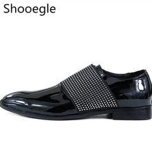 d84bd1140339 Black Patent Leather Rhinestone Stud Men Dress Shoes Slip On Business  Wedding Flat Handmade Men Casual Shoes