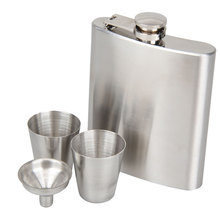 LS4G Portable Stainless Steel 7oz Pocket Hip Flask Alcohol Whiskey Liquor Screw Cap + Funnel