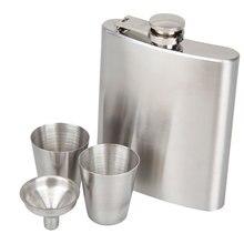 Portable Stainless Steel 7oz Pocket Hip Flask Alcohol Whiskey Liquor Screw Cap + Funnel Portable Flagon Bottle Hip Flask