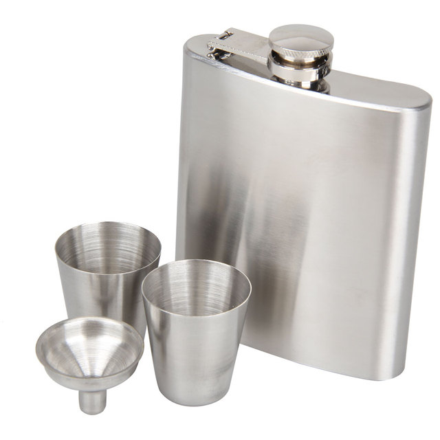 Portable Stainless Steel 7oz Pocket Hip Flask Alcohol Whiskey Liquor Screw Cap + Funnel Portable Flagon Bottle Hip Flask