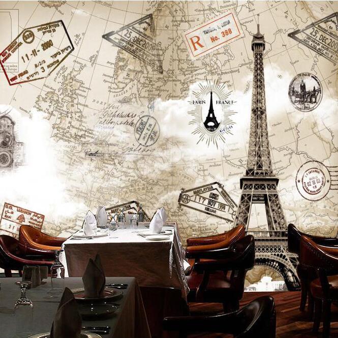 Buy custom any size 3d wall mural for Paris wallpaper for bedroom