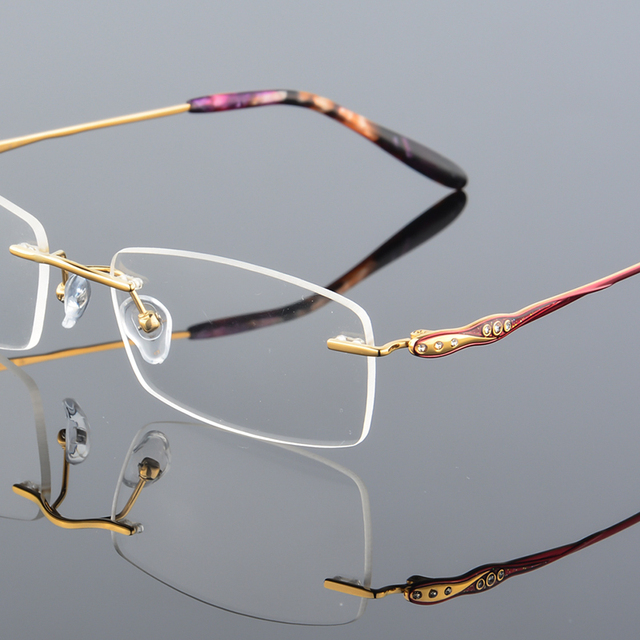 f6652f6f80 XINZE 2017 New Rimless Glasses memory titanium flexible Women s eyeglasses  glasses prescription spectacle optical frame 605