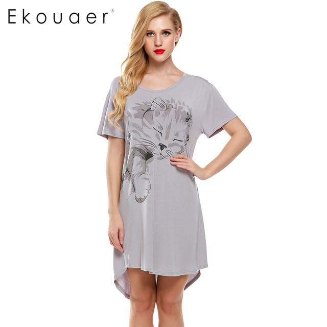 Ekouaer Women Nightgowns Summer Sleepwear Casual Night Dresses Plus Size  Short Sleeve Letter Print Loose Nightdress Home Clothes 7247695ce
