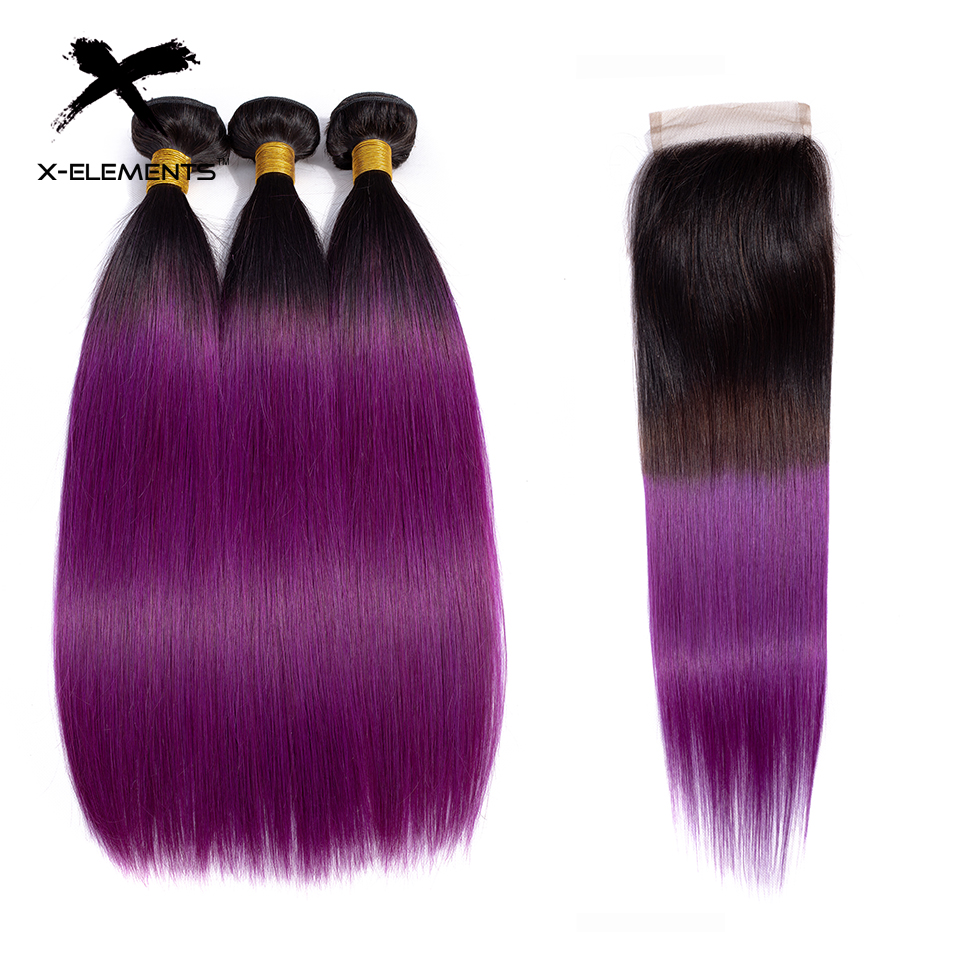 X Elements Ombre Brazilian Straight Hair Bundles With Closure 3 Bundles Ombre T1B Purple Human Hair