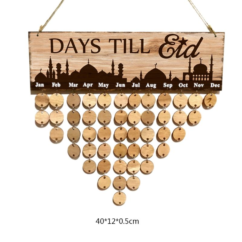 1 Set Eid Mubarak Natural Wood Countdown Board Count Down Calendar Muslim Ramadan Islam Notes Pad Reminding Card Wall Decoration in Embellishments from Home Garden