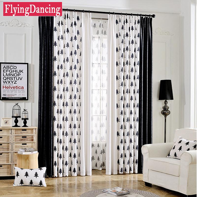 moderna de dibujos animados negro rbol blanco saln cortinas de sombreado para nios dormitorio cortinas