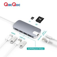QacQoc GN30H USB C Hub Shuttle Type C Hub With 4K Output Card Reader 3 USB