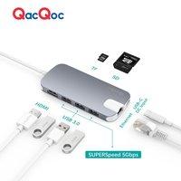 QacQoc GN30H USB C Hub Shuttle Type C Hub With 4K Output Card Reader 3 USB