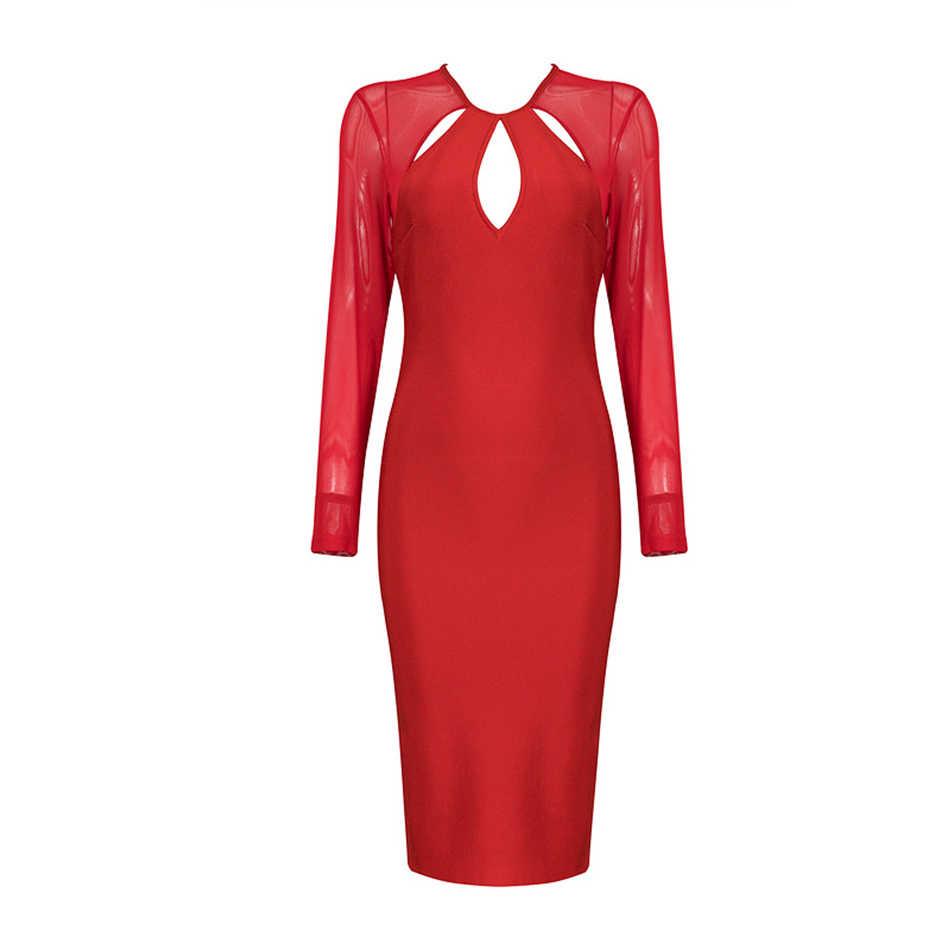 Seamyla/2019 Новое поступление, летние платья, женская сексуальная сетка, Бандажное платье с длинными рукавами, с вырезами, для подиума, Vestidos, вечерние платья знаменитостей