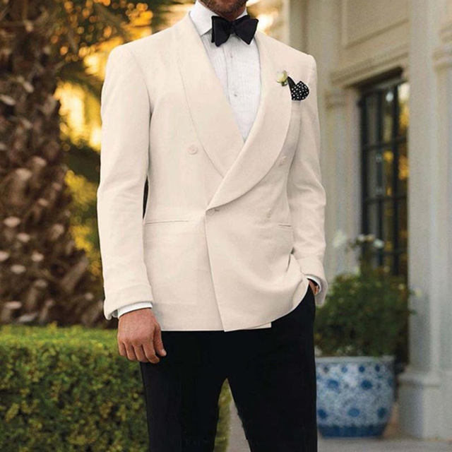 695da641d2 2018 Ivory Tuxedos For Men Shawl Lapel Men Wedding Suits Formal Mens Suits  Double Breasted Grooms Suit (jacket+pants+Bow tie)