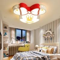 Мода привела Мультфильм Потолочный светильник для детской комнаты с дистанционным управлением Микки детский сад свет ночной Светильник с