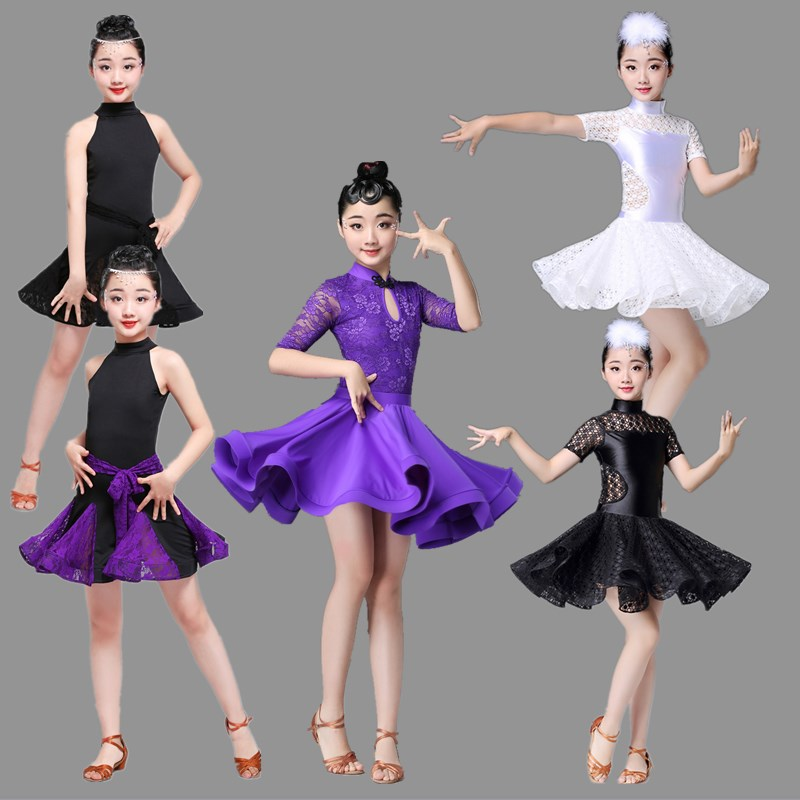 Modern Latin Dance Dress For Girls Competition Children Ballroom Lace Samba Kids Salsa Skirt Tango Practice Dancewear Cha Cha