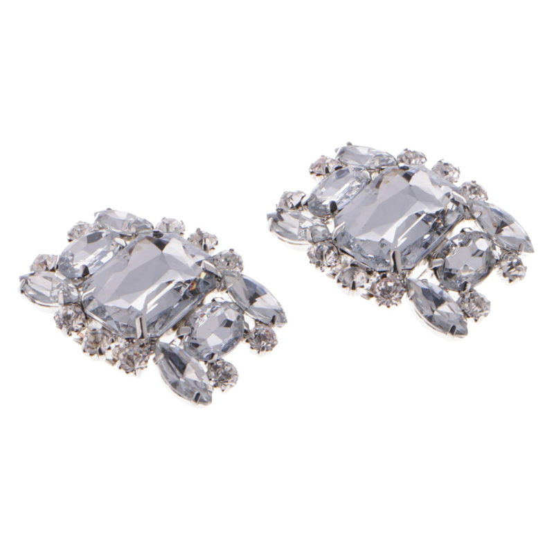 EYKOSI 2Pcs Rhinestone Alloy Glass Shoe Clips Elegant Ornate Buckles Fashion Decoration