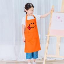 Kids Cute Eating Apron Children Front Pocket Bib Kitchen Cooking Craft Baking Art Painting apron customize logo print