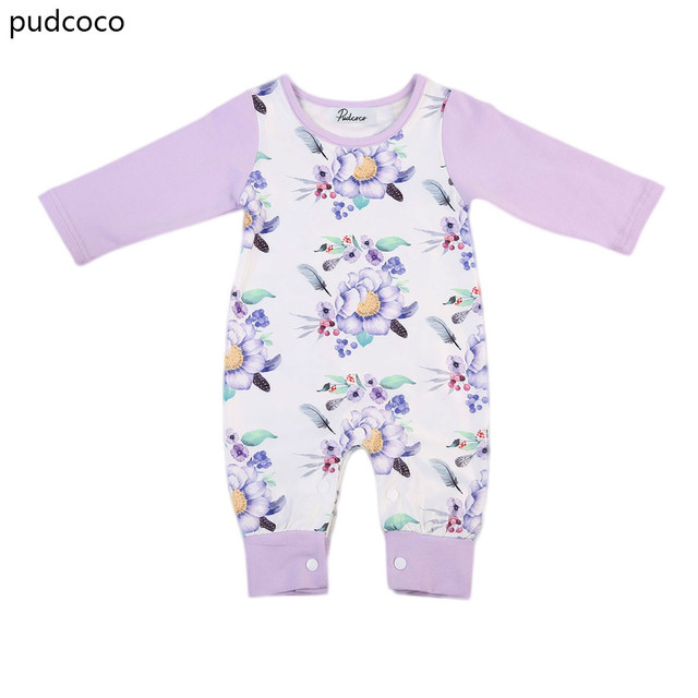 e62ceccea904 Cute Purple Floral Baby Girl Cotton Rompers Infant Kids Girls Kids Long  Sleeve Print Romper Jumpsuit Clothes Outfits Summer