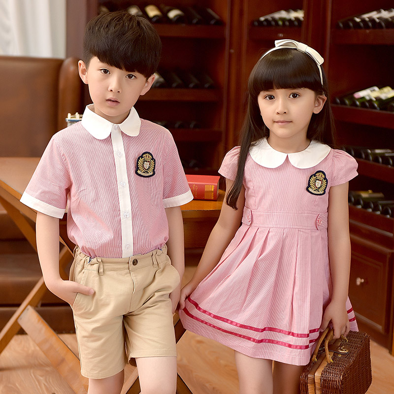 2018 New Children Cotton Korean Student School Uniforms Suit Girls Boys White Shirts Dress Short Pants Tie School Uniform 2-10T