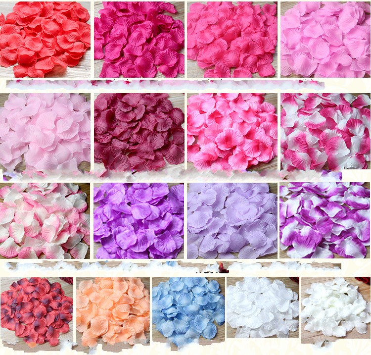 2019New 3000pcs / Lot 5*5cm Silk Rose Petals For Wedding Decoration, Romantic Artificial Rose Petals Wedding Flower Rose Flower
