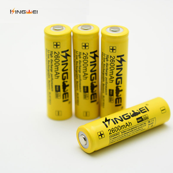 2019 New 100Pcs KingWei Yellow 18650 2600mAh Battery 3.7v Li-ion Rechargeable Batteries For Flashlight