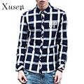 Casual Plaid Long Sleeve Top Men Shirt Autumn 2017 New Fashion European Style Cotton Tops Men Clothing Gray Red Man Wear