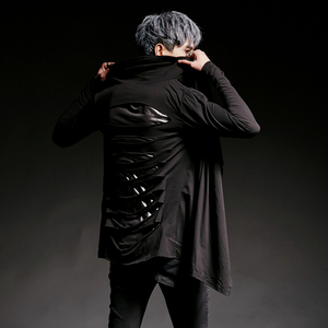 Image 2 - Men nightclub personality back ripped long sleeve t shirt singer stage costume men hip hop punk tee shirts gothic clothes