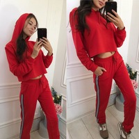 New Fashion 2 Piece Clothing Set Women Red Yellow Crop Top And Pants Suit Ladies Sexy