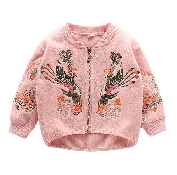 Пальто для маленьких мальчиков и девочек Высококачественная детская верхняя одежда с вышивкой на весну и осень Верхняя одежда Детские куртки для детей 2, 3, 4, 5, 6, 7, 8 лет - Цвет: Pink