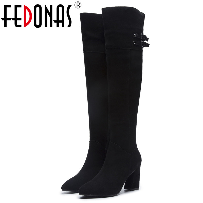 FEDONAS Brand Over The Knee High Boots For Women High Heels Buckles Tight High Autumn Winter Shoes Woman Long High Boots fedonas top fashion women winter over knee long boots women sper thin high heels autumn comfort stretch height boots shoes woman