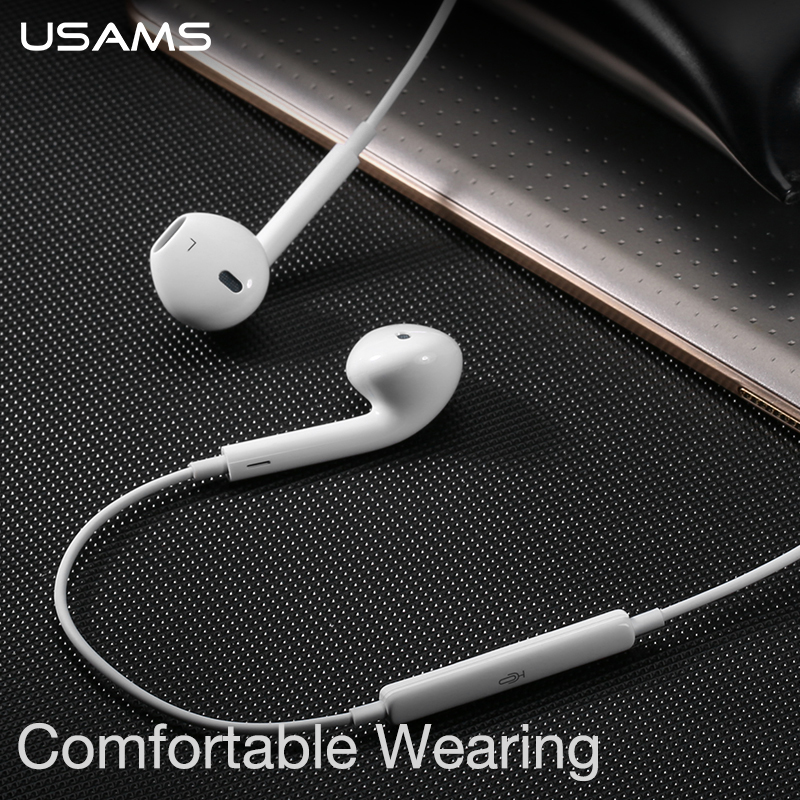USAMS Professional In-Ear Wired Earphone Metal Heavy Bass High fidelity Sound Quality Music EP-22 Earphone for smart phone
