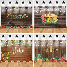 Mehofoto Fiesta Luau Backdrop Vintage Wood Fiesta Tropical Party Aloha Hula Background Mexican Banner Backdrops Party Props(China)