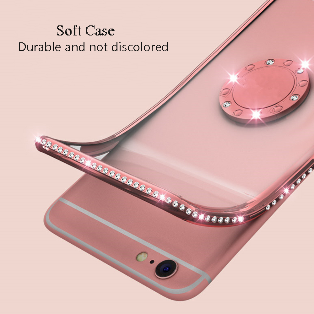 Rhinestone Diamond Bling Soft TPU Case Cover sFor Samsung S10e S10+ Note 9 A6 A8 A7 2018 A750 Slim Phone Capa With Rotating Ring (8)
