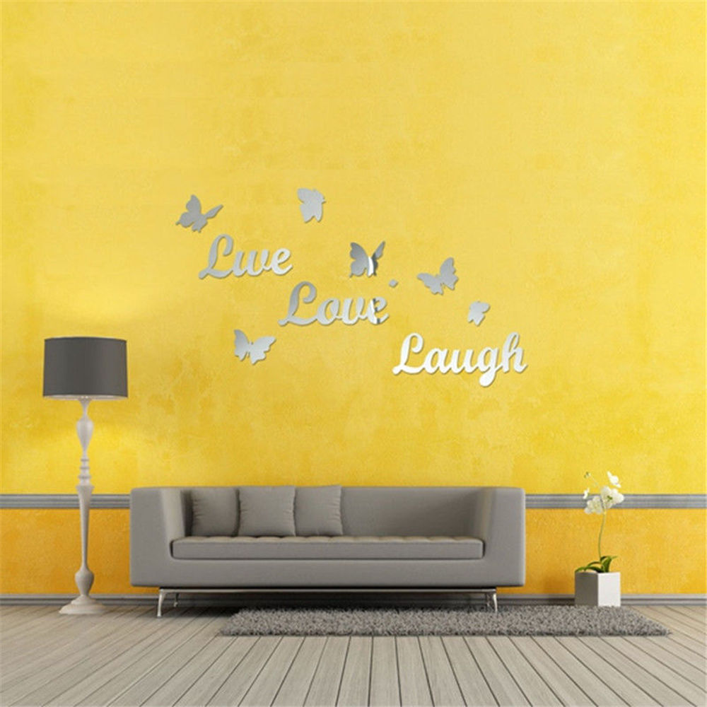 New Designed 3D Removable Butterfly Words Silver Wall Decal Stickers ...