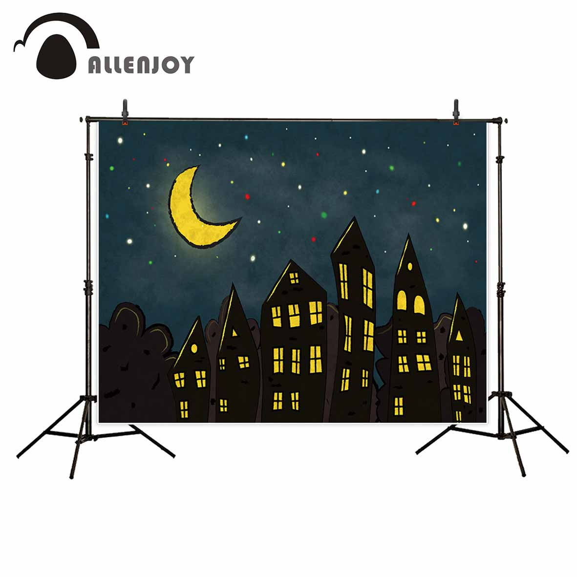 Allenjoy Night in the magical cartoon city stars Background for kids party backdrop backgrounds for photo studio