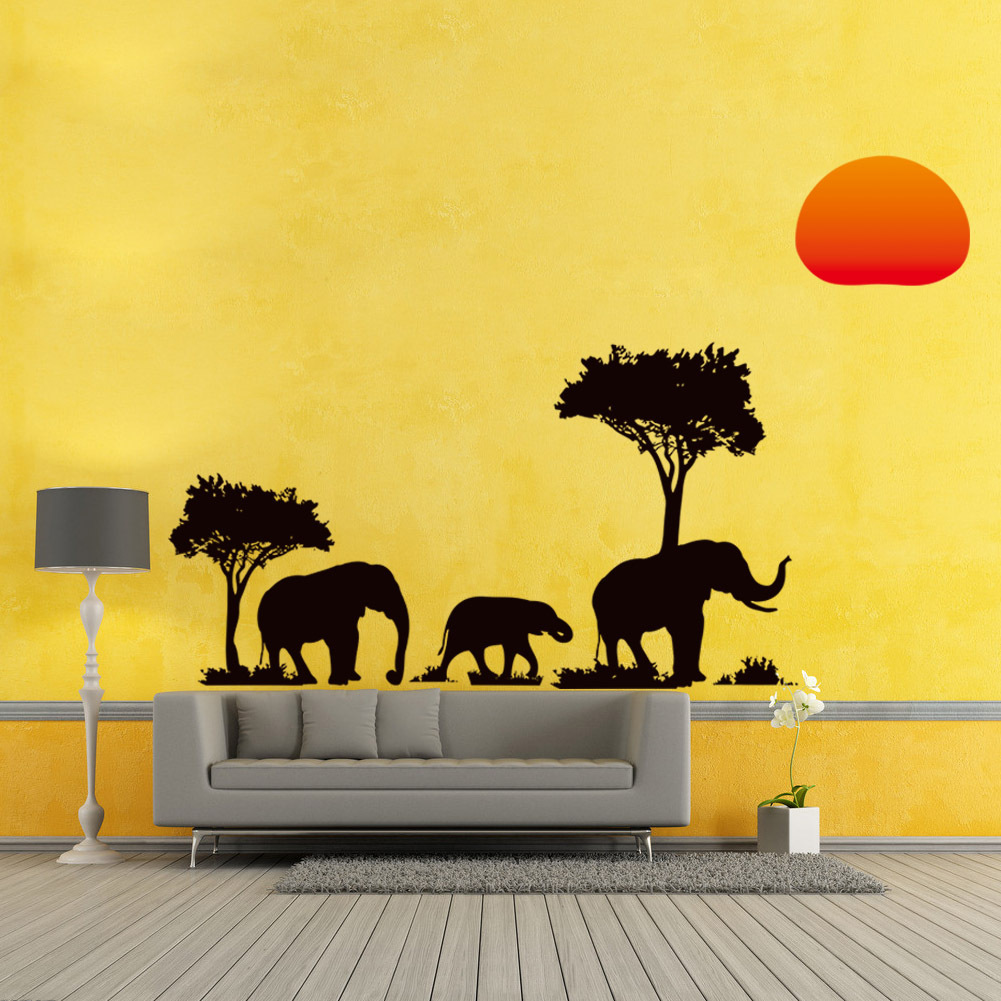 Creative African Elephant Sunset Trees Wall Sticker Art Animal Decor ...