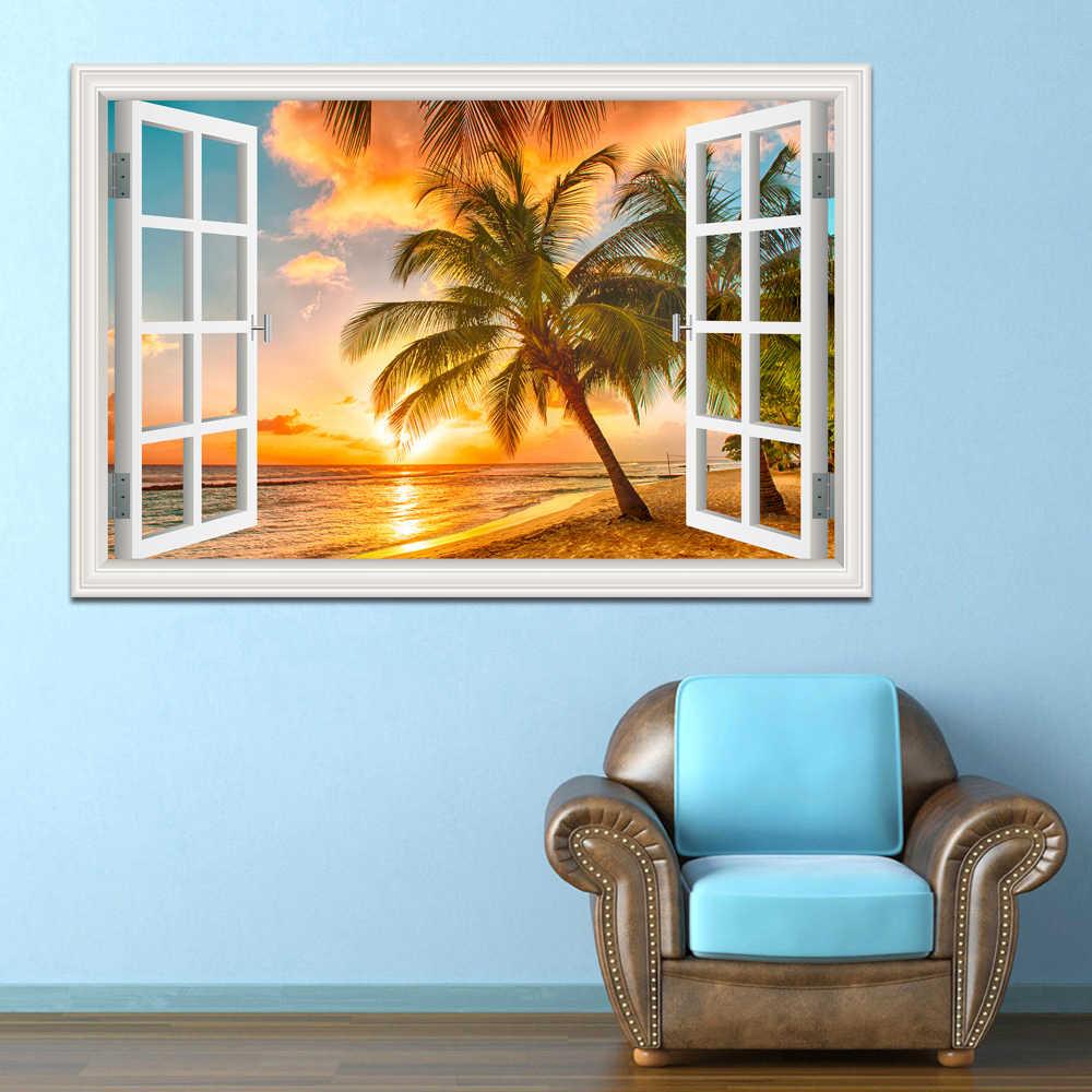 קיר מדבקות בית תפאורה קיץ חוף קוקוס עץ תמונה נשלף ויניל מדבקות נוף טפט מודרני קישוט