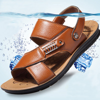 Summer Male Slippers Genuine Leather Drag Outdoor Slip Resistant 2016 Male Sandals Slippers Cowhide Sandals