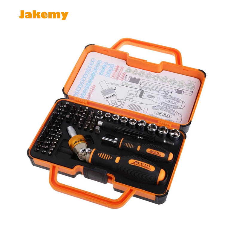 Professional JAKEMY JM-6111 69 in 1 Hardware Screwdriver Set for Tablet, Pc, Macbook,Mobile Cell Phone Open Tool Kit 2016 new jakemy jm 8152 portable professional hardware tool set screwdriver set 44 in 1