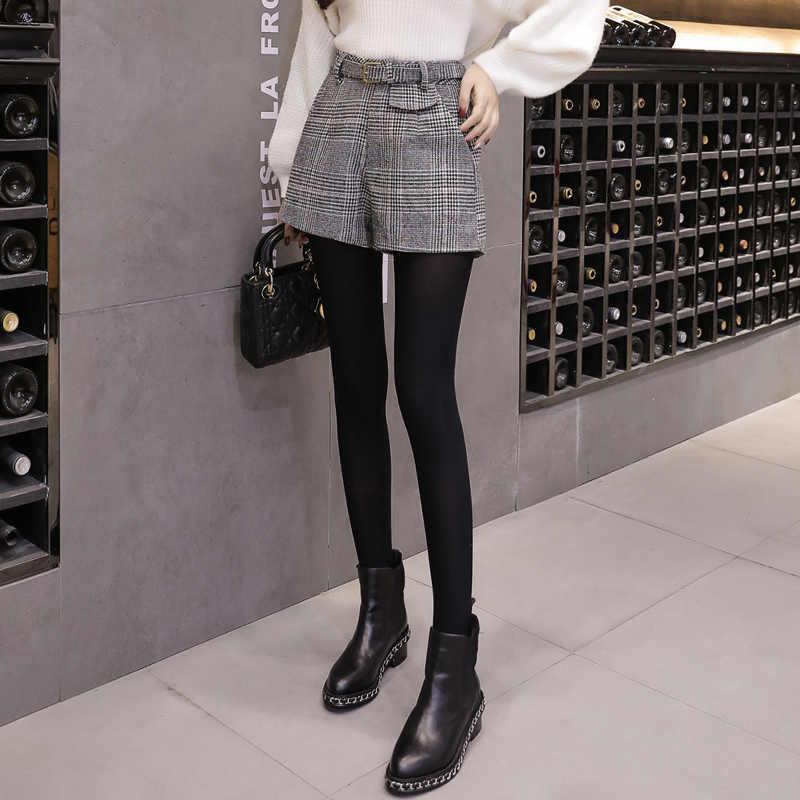 Wełniany plaid szorty kobiety jesień zima odzież wierzchnia spodnie szerokie nogawki wysokiej talii krótkie mujer urząd pracy nosić szorty damskie spodenki damskie