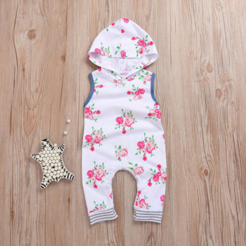 Cute Floral Romper Newborn Baby Girl Sleeveless Hooded Jumpsuit Outfits Baby Sleeveless Printed Romper