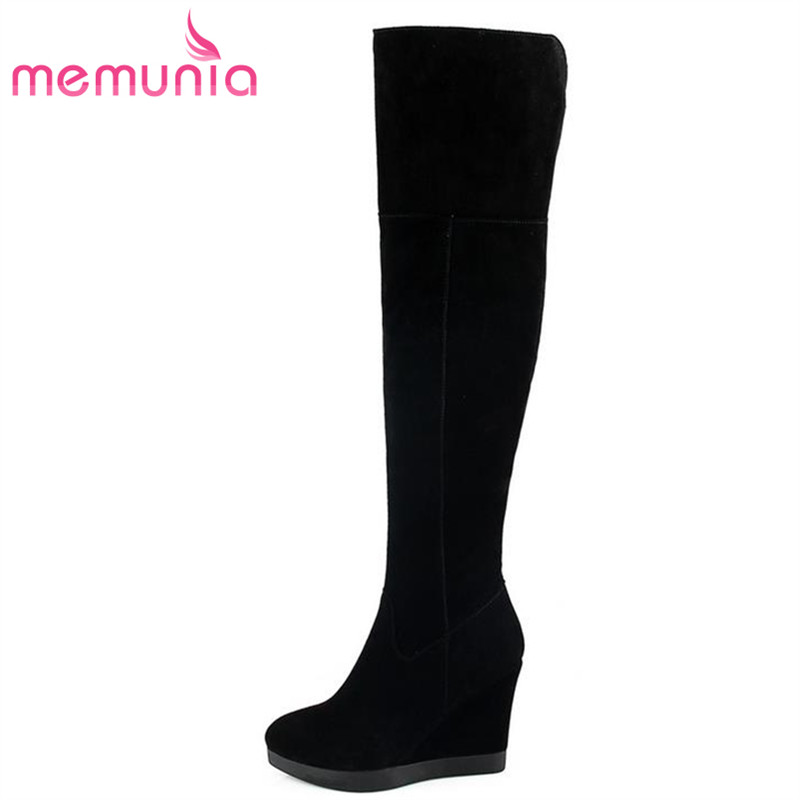 MEMUNIA Newest hot sale nubuck leather over the knee boots classics warm winter elegant wedges women shoes memunia 2018 hot sale genuine leather