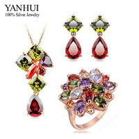 YANHUI 3pcs/Sets Brand Fashion 24K Gold Filled Jewelry Bridal Sets Luxury Colorful Zircon Crystal Jewelry Bijoux Set HS036