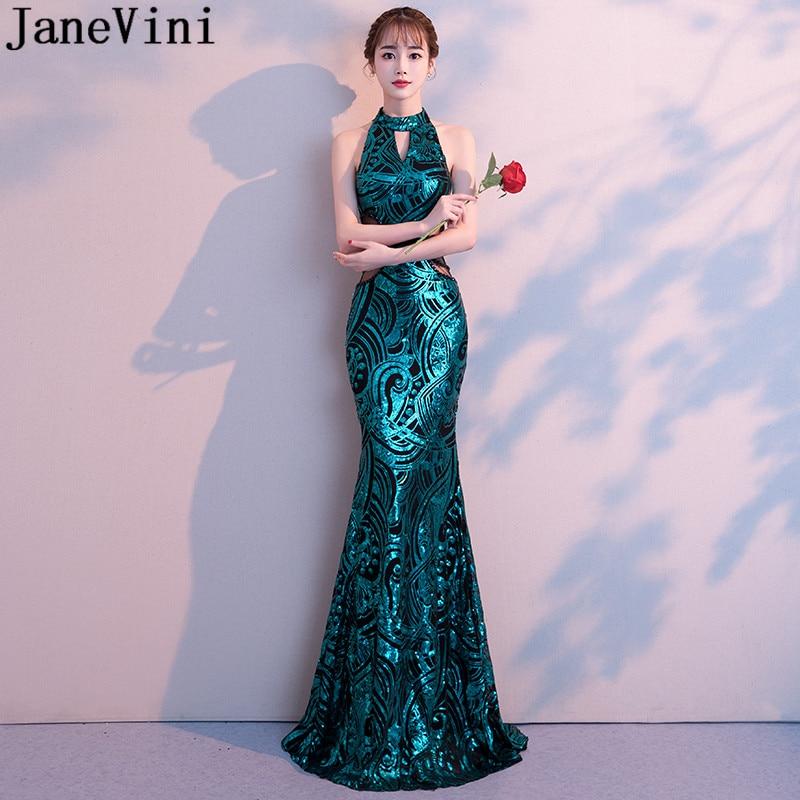 JaneVini Arabic Dubai Sequins Long Bridesmaid Dresses Wedding Party High Neck Shiny Formal Dress Mermaid Sheer Waist Beaded Gown