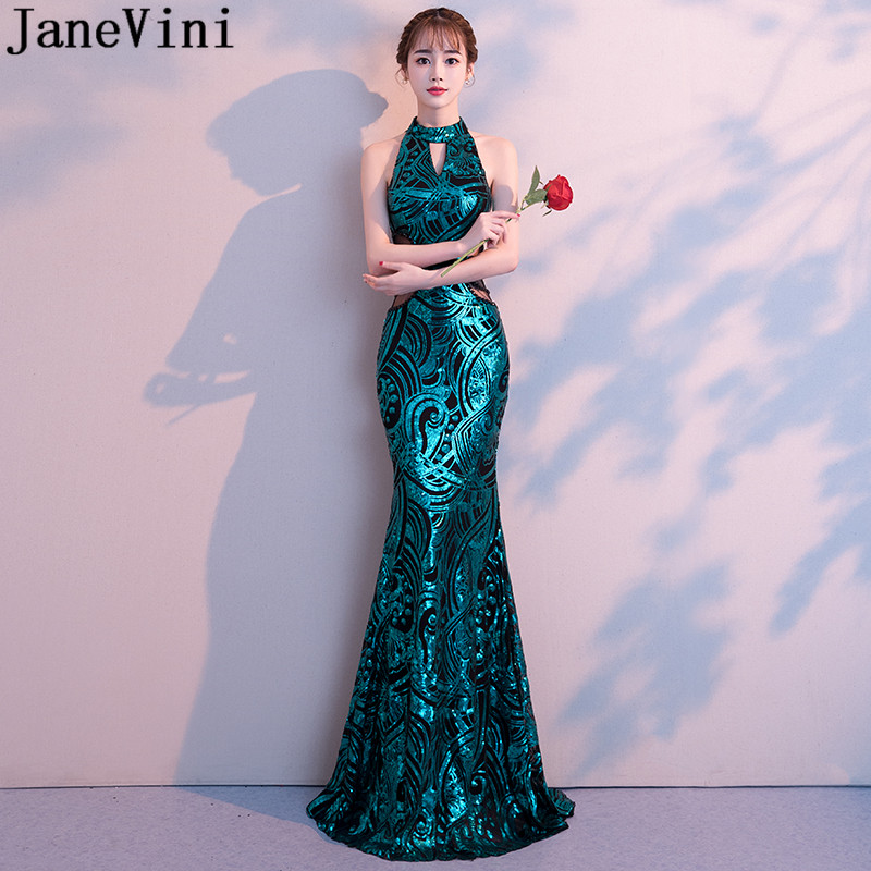 JaneVini High Neck Sparkly Sequins Long Bridesmaid Dresses Mermaid Wedding Party Formal Dress Sheer Waist Beaded Women Gowns