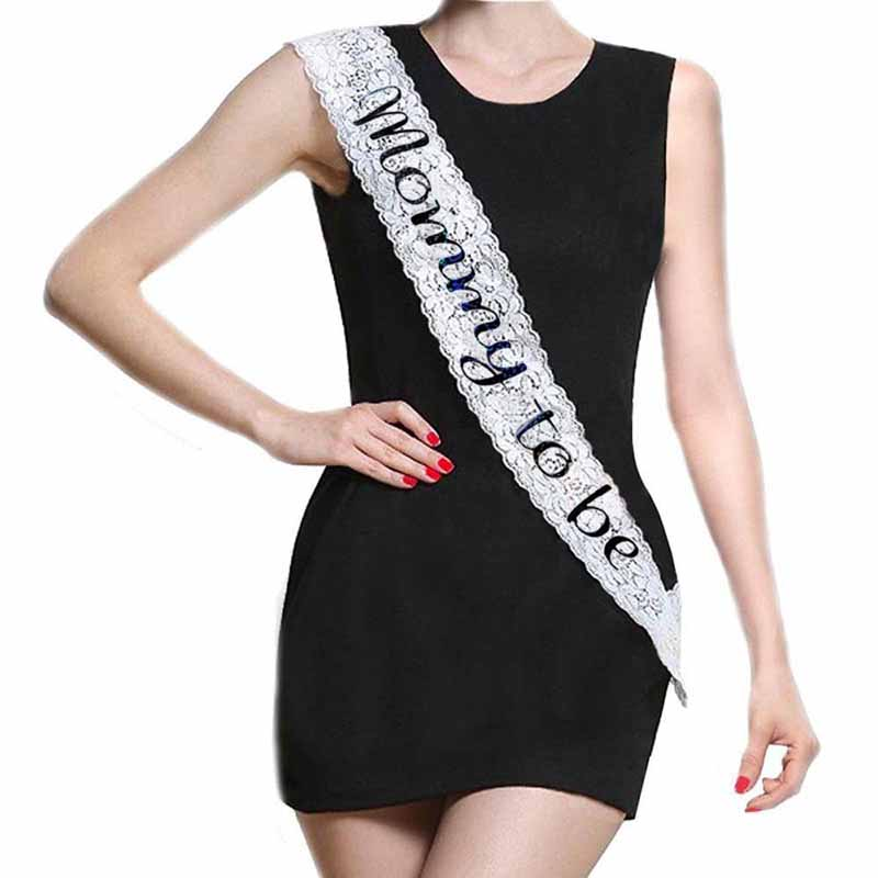 White Gender Girl Elegant Decoration Lace Baby Shower Party Mommy To Be Sash