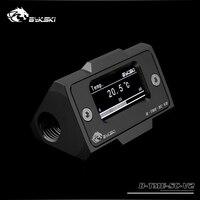 Bykski OLED Digital Display Water Temperature Meter Water Cooler System Double G1/4'' Thermometer Temperature Sensor Fitting